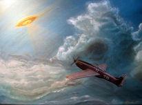 Licht, Flugzeug, Acrylmalerei, Ufo