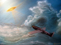 Flugzeug, Acrylmalerei, Ufo, Pilot