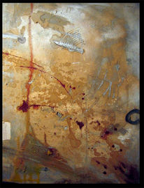 Blut, Terror, Ölmalerei, Gold