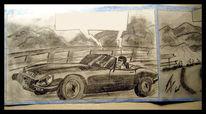 Cabrio, Skizze, Zeichnung, Straße
