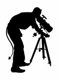 Teleskop, Schwarz weiß, Fernglas, Selbstportrait