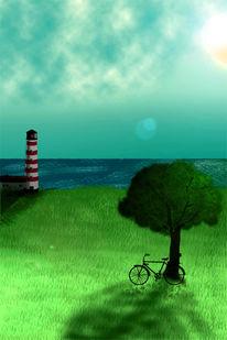 Fahrrad, Digital, Meer, Airbrush