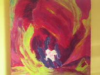 Impressionismus, Rot, Spachteltechnik, Ölmalerei