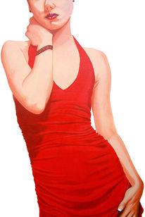 Rot, Kleid, Fotorealismus, Körper