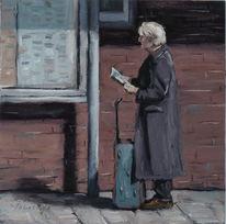 Grau, Ölmalerei, Bahnhof, Warten