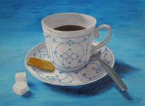 Blau, Acrylmalerei, Stillleben, Tasse