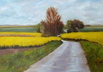 Ölmalerei, Baum, Braun, Agralandschft