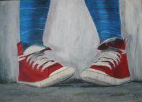 Grau, Schuhe, Rot, Turnschuhe