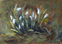 Frühling, Weiß, Ölmalerei, Schneeglöckchen