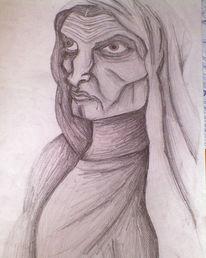 Skizze, Zeichnung, Frau, Blick