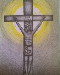 Surreal, Geld, Kreuz, Zeichnung