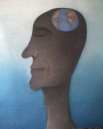 Globalisierung, Kreide, Zeichnung, Kopf