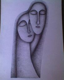 Zeichnung, Zweisamkeit, Liebe, Geborgenheit