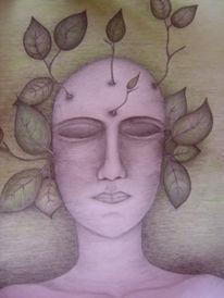 Zeichnung, Entfaltung, Surreal, Kopf
