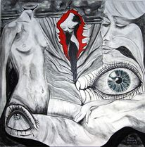 Akt, Zeichnung, Zeichnungen, Blick