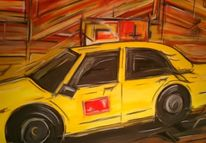 Großstadt, Taxi, Stadt, Malerei