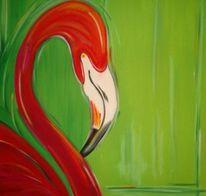 Vogel, Figural, Flamingo, Malerei
