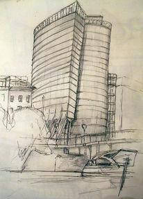 Skizze, Geoliner, Bleistiftzeichnung, Zeichnungen
