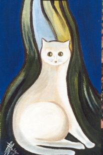 Katze, Mieze, Malerei, Tiere