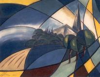 Kubismus, Blau gelb, Malerei