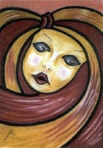 Frau, Pastellmalerei, Venedig, Maske