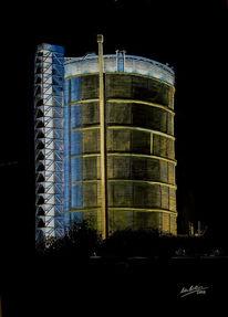 Gasometer, Heimat, Industrie, Malerei