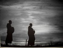 Mönch, Sonnenuntergang, Buddhismus, Abendstimmung
