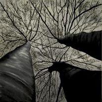 Wald, Malerei, Baum, Natur