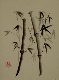 Natur, Bambus, Pflanzen, Tusche
