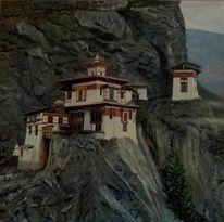 Landschaft, Mönch, Buddha, Berge