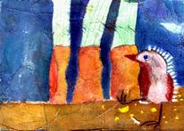 Collage, Illustration, Malerei, Vogel