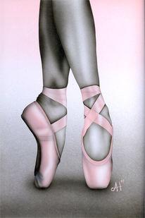Spitzenschuhe, Malerei, Rosa, Figural