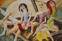 Malerei, Figural, Menschen, Frau