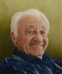 Portrait, Opa, Zeichnung, Falten