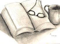 Stillleben, Buch, Zeichnungen, Lesen
