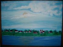 Landschaft, Malerei, Ölmalerei, See