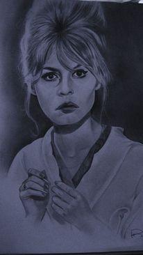 Zeichnen, Bleistiftzeichnung, Bardot, Zeichnungen