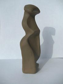 Frau, Plastik, Skulptur, Ton