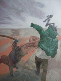 Malerei, Straße, Angriff, Menschlichkeit