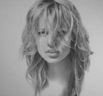 Frau, Zeichnung, Portrait, Haare