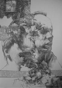 Zeichnung, Portrait, Kopf, Surreal