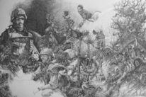 Soldat, Krieg, Zeichnung, Surreal