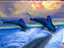 Ozean, Meer, Delfin, Malerei