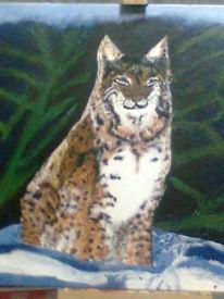Schnee, Tiger, Baum, Malerei