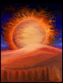 Digital, Landschaft, Sonnenaufgang, Sonnenuntergang