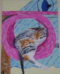 Acrylmalerei, Katze, Tierportrait, Malerei