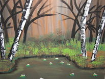 Acrylmalerei, Wald, Teich, Baum