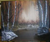 Spaziergang, Baum, Malerei, Ölmalerei