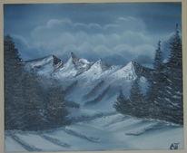 Wolken, Winter, Ölmalerei, Wald
