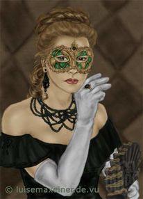 Maske, Harlekin, Venedig, Verde
